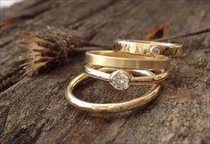 Wedding Band Engagement Ring 18K Gold Diamond Rings by joykruse, $2650.00