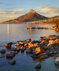 Late afternoon sun reflecting its golden rays along the Atlantic Coast ☀️ Cape Town, Cosy, South Africa, Reflection, Scenery, River, Mountains, Sunset, Beach
