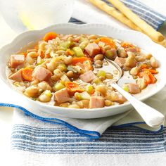 Navy Bean Vegetable Soup Recipe -My family likes bean soup, so I came up with this hearty, hammed-up version. The leftovers freeze well for first-rate future meals. —Eleanor Mielke, Mitchell, South Dakota - 157 cals & carbs per 1 cup serving. Best Slow Cooker, Crock Pot Slow Cooker, Slow Cooker Recipes, Crockpot Recipes, Cooking Recipes, Ww Recipes, Slow Cooking, Bean Recipes, Chili Recipes