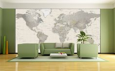Neutral Tones World Map Mural - This political world map blends warm, earthy color tones with detailed shaded relief. The neutral color scheme utilized for this map makes it an exceptional fit for just about any interior decor setting. Countries are represented in contrasting color shades and thousands of place name labels are featured.