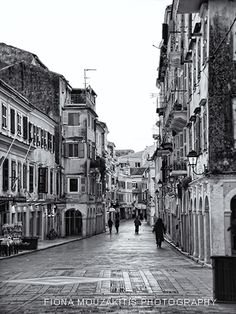 old down Corfu Corfu Town, Corfu Island, Corfu Greece, History Of Photography, Greece Islands, Small Island, Black And White Photography, Street View, World