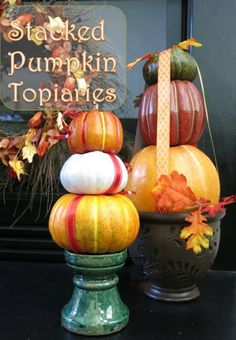I love decorating for fall and these stacked pumpkin topiaries are a fun and festive way to decorate for Halloween and Thanksgiving season.  These colorful stac…