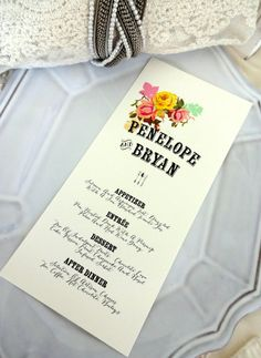 MENU CARD  Ideal for Weddings Rehersal Dinners by SweetPeaSunday, $1.25
