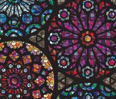 stained glass rose windows - fabric by Sammyk