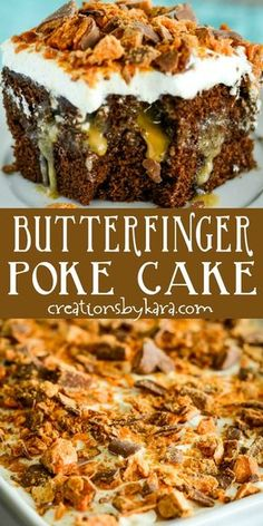 Chocolate Butterfinger Poke Cake Recipe – Creations by Kara Best Ever Chocolate Butterfinger Cake – this butterfinger poke cake is simply incredible! The sauce sets it apart from the rest. It is so easy to make, but the taste will blow your mind! Köstliche Desserts, Delicious Desserts, Dessert Recipes, Butterfinger Cake, Poke Cake Recipes, Poke Recipe, Oreo Dessert, Let Them Eat Cake, Cupcake Cakes