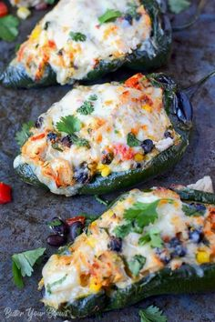 Stuffed Poblano Peppers are smoky and loaded with chicken, cheese, beans, corn and tomatoes. Quick and easy for a delicious weeknight meal!