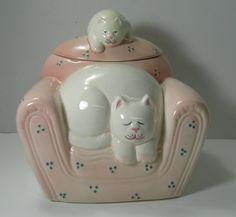 Clay Art Catnap Cookie Jar RARE Vintage 1991 Cat Kitten on Chair | eBay