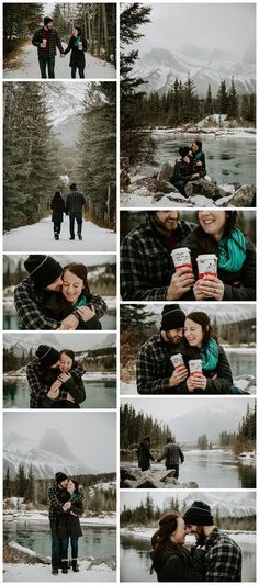 Canmore engagement session. Mountain engagement. Winter engagement photos