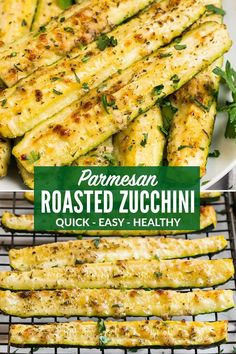 How to make the best CRISPY Roasted Zucchini in the Oven. Never soggy! Perfect oven baked zucchini and yellow squash spears topped with Parmesan and herbs. This is one of our favorite easy and healthy side dish recipes! #zucchinirecipes #roastedvegtables #easyrecipes #wellplated via @wellplated