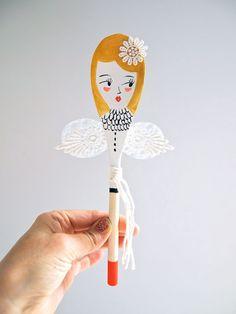 Great handmade Christmas gift: Fairy decorative wooden spoon | JessQuinnSmallArt