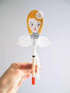 Great handmade Christmas gift: Fairy decorative wooden spoon | JessQuinnSmallArt