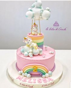 Unicorn Cake- Unicorn Cake This sweet unicorns-themed cake, suitable for a little girl& birthday or baptism cake, can be ordered with wp at 3403745199 - Unicorn Themed Cake, Small Birthday Cakes, Little Pony Cake, Salty Cake, Girl Cakes, Savoury Cake, Themed Cakes, Cake Designs, Cake Pops