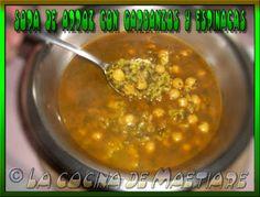 La cocina de Maetiare: Sopa de arroz con garbanzos y espinacas