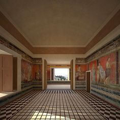 Villa of the Mysteries in Pompeii, Italy The purpose of this reconstruction is to investigate the relationship of the Triclinium, the famous dining room at the villa of the Mysteries in Pompeii, Italy, to its setting within its gardens and its extensive views. Rome  More @ FOSTERGINGER At Pinterest
