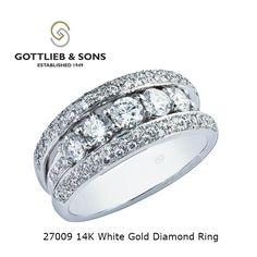 Celebrating an #anniversary?  This striking 14K White Gold Diamond ring features a row of glittering shared prong set round diamonds in between two rows of pavé set round diamonds. Visit your local #GottliebandSons retailer and ask for style number 27009. http://www.gottlieb-sons.com/product/detail/27009
