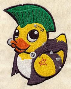 Embroidered Patch  Punk Duckie / Rubber Ducky  by PeriwynklePlace, $8.00