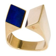 1970s Danish 14K and Lapis Modernistic Ring by Olel Denmark 1970s 14K Yellow gold and Blue Lapis 1970s Modernistic Ring by Danish Jeweler Olel.This item may be purchased on ecofirstart.com