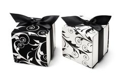 Reversible Black & White Flourish Favor Boxes