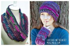 Luscious One Skein set (Cowl, wristers, Hat) - Great gift sets - free #crochet patterns on Moogly!