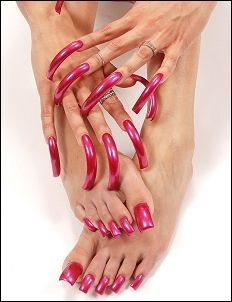 Long Red Nails, Long Fingernails, Blue Nails, Perfect Nails, Gorgeous Nails, Long Square Nails, Curved Nails, Exotic Nails, Nails Only