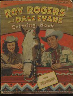 VTG 1951 ROY ROGERS DALE EVANS AND TRIGGER COLORING BOOK COWBOY WESTERN
