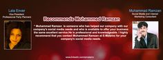 Lala Enver Vice President Professional Party Planners Recommends Muhammad Ramzan Social Media & Internet Marketing Consultant.