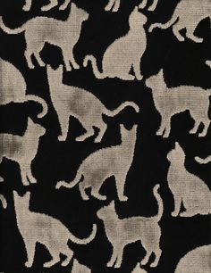 Renoir/Taupe-Black, our cut velvet featuring kitty cats, offered in 2 colorways, sold by the yard. Fabric Decor, Fabric Design, V Collection, Cat Fabric, Kittens, Kitty Cats, Renoir, William Morris, Shades Of Grey