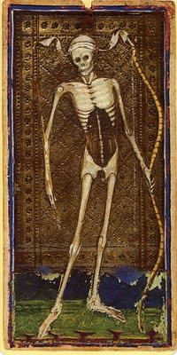 Death card from the Visconti Tarot, one of the oldest known to exist.