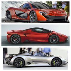 McLaren P1, Ferrari F150, Porsche 918 Spyder.