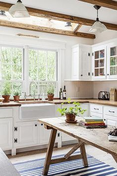 Expose It >> Opt for low maintenance, casual comfort with rustic kitchen furnishings and accessories. Terracotta planters, butcher-block countertops and a salvaged wood kitchen island will capture that cottage-casual summer look you crave.