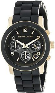 MK5191 Ladies Black Rubber Strap Michael Kors Watch Buy it now on Amazon - click here! <3