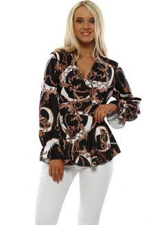 Stylish black peplum tops available now at Designer Desirables. French Boutique, Black Peplum, Going Out Tops, Black Tops, Long Sleeve Tops, Looks Great, Glamour, Chain, Stylish