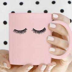 Pink Ceramic Eyelash Mug