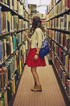 I love literally everything about this; books, bag, cardigan, boots, dress, hair bow...literally!