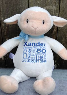 Personalized baby gift new baby birth by worldclassembroidery new baby gift personalized cubbies lamb embroidered birth announcement farm animals baby girl baby boy photo prop nursery decor sheep white negle Image collections