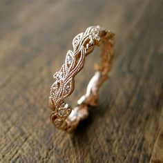 Diamond Wedding Ring in 14K Rose Gold with Diamonds in Flower Buds & Leafs with Antiquing on Vine Size 5 by SlowackJewelry on Etsy https://www.etsy.com/listing/211651949/diamond-wedding-ring-in-14k-rose-gold