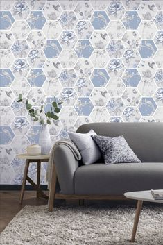 A simple hexagon pattern that showcases an overlay of delicate blooms, perching birds and beautiful colour. Head over to WallpaperDirect now to see the complete collection