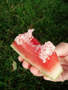 BRILLIANT IDEA! soak watermelon in tequila and dip in coarse salt…a margarita you can eat!