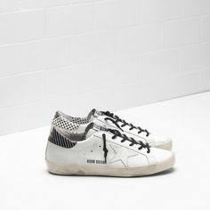Golden Goose Soldes - Chaussure Golden Goose Super Star In Blanche Calf Leather With Blanche Star And Point Back Femme Pas Cher