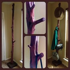 I recently made this coat hanger from driftwood. I cut off unusable twigs and stained it. It has many options to hang on stuff like hats, coats and bags, I love it! And why buy a coat hanger when you can make an original one of a kind for less than $5?
