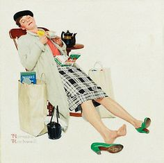 How to revive a tired shopper, art by Norman Rockwell… detail from 1958 Red Rose tea ad.