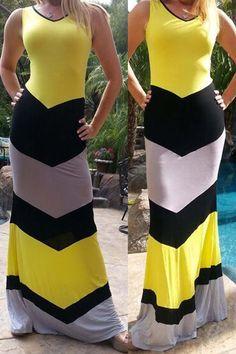 flattering colourblock dress