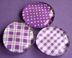 Items similar to Glass Magnets - Pebble - Marble - Purple - Plaid - Checks - Dots - Set of 3 - Refrigerator Magnets - Memo Board - Gift on Etsy Purple Lilac, Shades Of Purple, Purple Glass, Clay Magnets, Marble Magnets, Retro Fridge, Mini Fridge, Fridge Decor, 3d Printed Jewelry