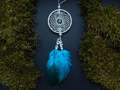 Dream catcher rear view mirror charm car decor by DeiDreamCatchers