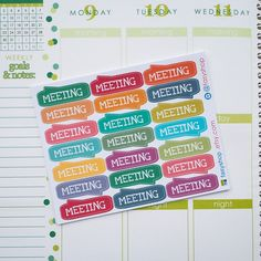 21 Meeting Sticker Planner by FasyShop on Etsy