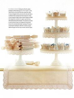 add lace ribbon to cake stands
