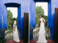 robe de mariée bohème Rue de Seine • mariage bleu et blanc sur Trendy Wedding • Sara Lobla photography