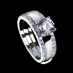 0.85 CT Round Cut Classical 925 Sterling Silver Plated Platinum Cubic Zirconia Stack Ring for Women