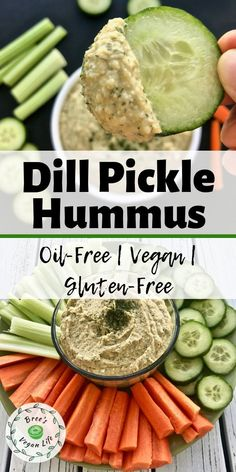 oil-free dill hummus recipe is great for a healthy snack. It is vegan and makes the perfect veggie dip!This oil-free dill hummus recipe is great for a healthy snack. It is vegan and makes the perfect veggie dip! Vegan Hummus, Vegan Vegetarian, Vegetarian Recipes, Healthy Recipes, Healthy Hummus, Healthy Dip For Veggies, Healthy Snacks Vegetarian, Veggie Dips, Vegetarian