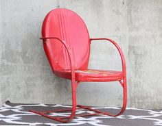 Vintage Mid Century Shell Back Chair / Red Metal Chair / Retro Patio Chair